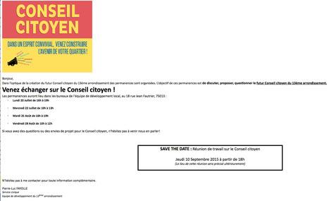 Paris XIIIème: Venez échanger sur le CONSEIL CITOYEN ! | actions de concertation citoyenne | Scoop.it