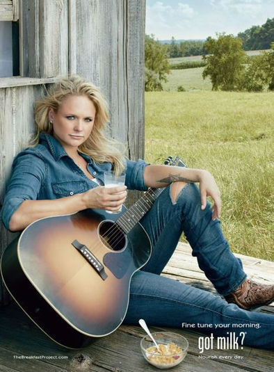 "Celebrity for the World: Country singing star Miranda Lambert sports a Milk Mustache in ""got milk?"" ad. 