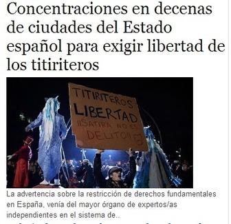CNA: #LibertadTitiriteros Concentraciones en decenas de ciudades del Estado español para exigir Libertad de los Titiriteros | La R-Evolución de ARMAK | Scoop.it