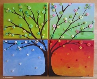 Canvas crafts with Buttons | Canvas Crafts With Buttons |  Button Tree Canvas |   Canvas Ideas Kids |  Canvas Crafts For Kids | Education | Scoop.it
