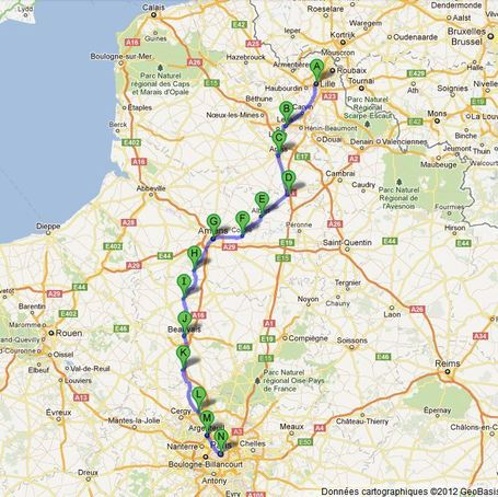 Carte de la marche Lille >> Paris | Marches Lille >> Paris 2012 | Scoop.it