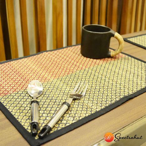 Handcrafted Table Mat Weaving Pattern – Green and Red - Set of 6 | wooden Kitchen Products and Accessories | Scoop.it