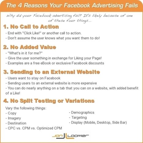 The 4 Reasons Your Facebook Advertising Fails [Infographic] - JonLoomer.com | Marketing and Promotion | Scoop.it
