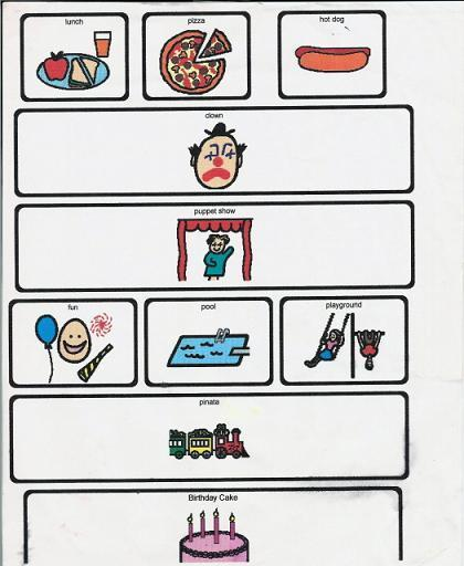 Birthday Party Visual Picture Schedule Example | Visual Supports for a Leisure Activity | Scoop.it