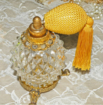 Vintage Footed Stylebuilt Perfume Bottle Cut Glass Perfume Tasseled Atomizer Filigree Gold Gilt Ormolu Bottle $68.00 | Vintage Passion | Scoop.it