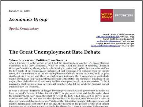 Wells Fargo's John Silvia Ends The Unemployment Rate Debate With This Report | Common Sense Politics | Scoop.it