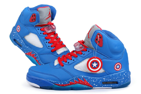Nike Air Jordan V 5 Captain America Custom by Marvel New Shoes | want and share | Scoop.it