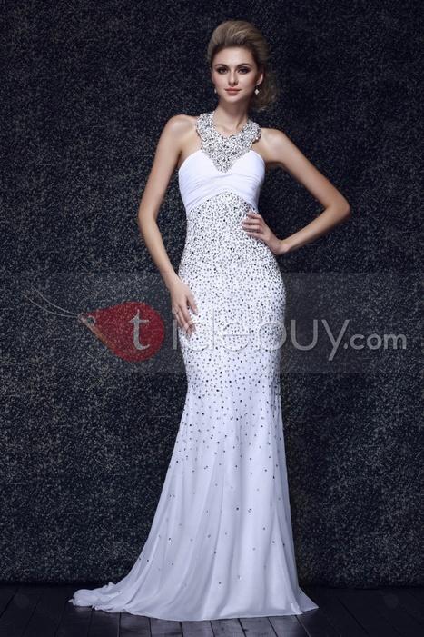 Elegant Beaded Floor-Length Mermaid Halter Dasha's Evening Dress | wedding | Scoop.it