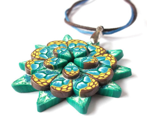 Necklace Flower Pendant in Shades of Blue, Green and Brown, Polymer Clay. | Jewlery | Scoop.it