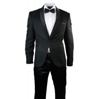 Mens Slim Fit 1 Button Dinner Suit Tuxedo Black Satin Shiny Trim 3 Piece | Mens clothing | Scoop.it