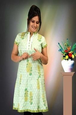 Cotton Green Printed Half Sleeves Kurti M-152A | KURTIS | Scoop.it