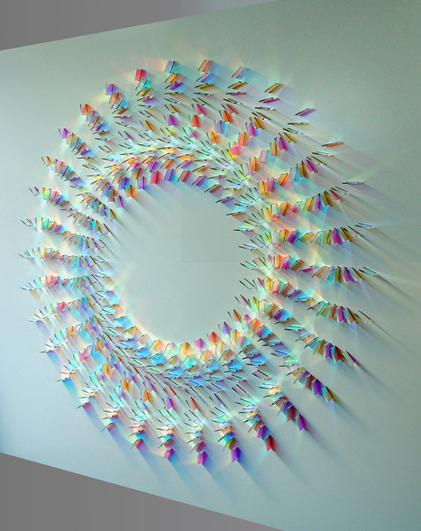 "Geometric Dichroic Glass Installations ""Tendrilla"" by Chris Wood 