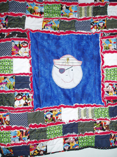 "Original ""Ahoy Matey""  Baby Quilt  Pirates red, white, blue, black Hand Embroidered Heirloom Rag Quilt 