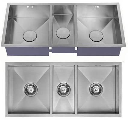 Undermounted Three Bowl Kitchen Sink With Kit (Satin, 920x400). 1810 1810-ZE31803U | Showers, Taps & Bathrooms | Scoop.it