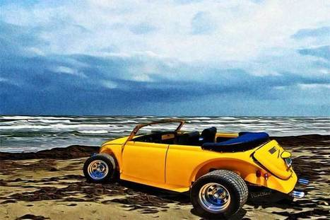 VW Roadster at the Beach on Padre Island | VivaChas!  Hot Rod Art | Scoop.it