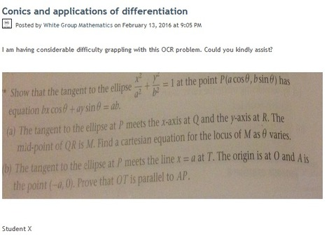 Conics and applications of differentiation | Mathematics,Science Resources And News | Scoop.it