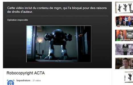 La Quadrature du Net censurée par le Robocop YouTube | Droits d'auteur & Copyright | Scoop.it