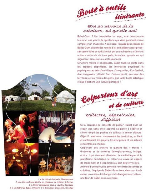 Le projet associatif - Babel-Gum, festival itinérant au service de la création locale, colporteur d'art et de cultures... | L'art contemporain exposé en milieu rural | Scoop.it