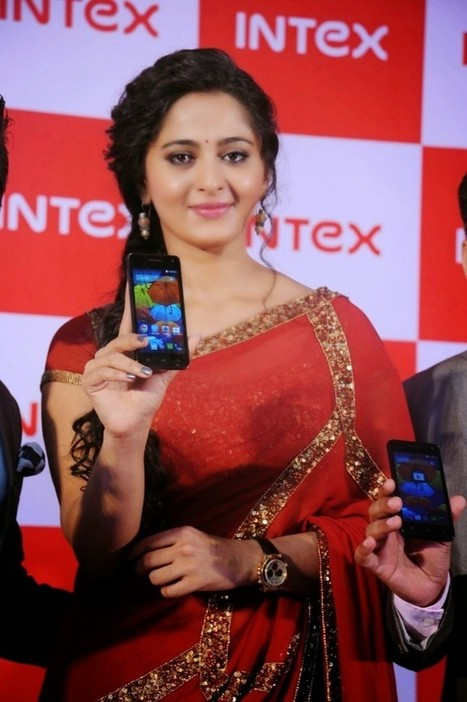Anushka Shetty in Red Saree at the launch of Intex Aqua Android SmartPhones, Actress, Indian Fashion, Tollywood | Indian Fashion Updates | Scoop.it