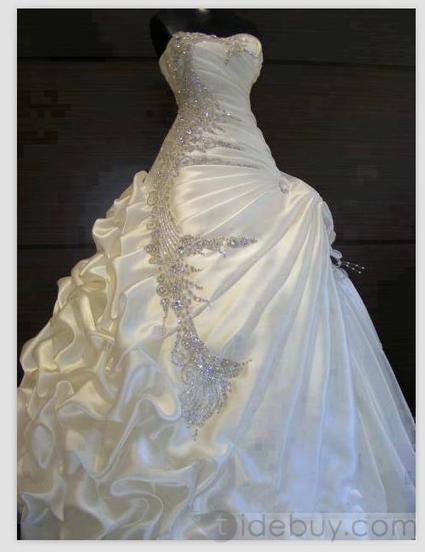 Exquisite A-line ball gown Sweetheart ruffles Beading Wedding Dress | warmhat | Scoop.it