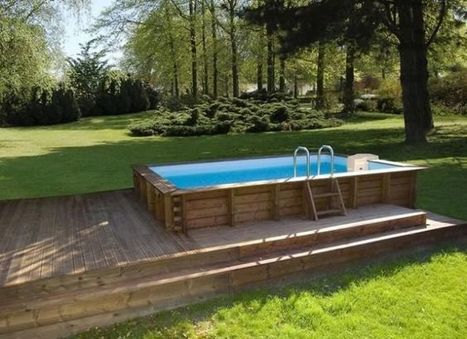 Les plus belles photos de piscines bois hors so for Installation piscine semi enterree bois