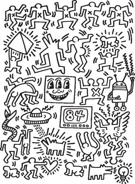 A quirky coloring book featuring Keith Haring, Shepard Fairey, Ryan McGuinness, Brian Rea, and other contemporary art icons | D_sign | Scoop.it