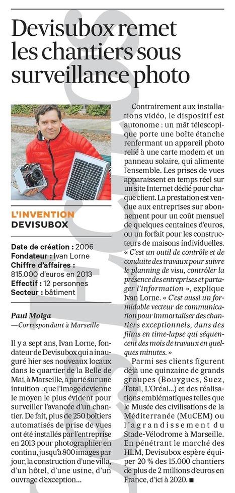 Les Echos – 5 février 2014 - Devisubox - Suivi photo depuis un point fixe | Camera HD de suivi de chantier - Temps réel et Time lapse | Scoop.it