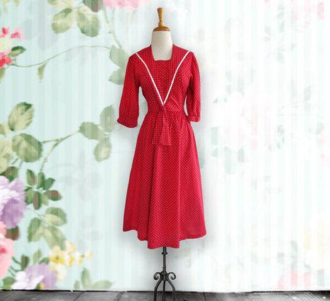 Vintage Red Polkadot Dress, Laura Ashley Dress, Polkadot Day Dress, size 8 | DustyDesert vintage | Scoop.it
