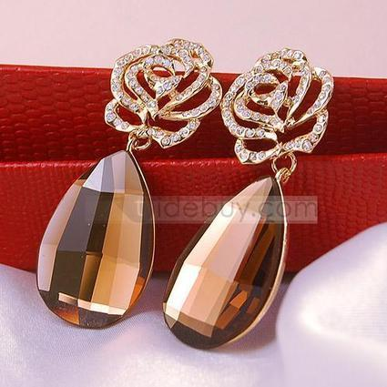 Faddish Tawny Rhinestone Lady's Earrings | FASHION-BEAUTY-CLOTHES-GIRL | Scoop.it