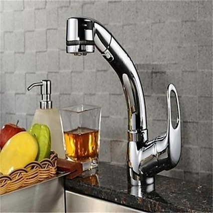 Pullout Spray Chrome One Hole Contemporary Kitchen Faucet-- Faucetsmall.com | Bathroom Sink Faucets & Kitchen Faucets | Scoop.it
