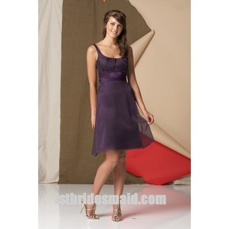 A-line Knee-length Chiffon Bridesmaid Dress with Straps and Waistband(WPD0635)   dressmebridal   Scoop.it