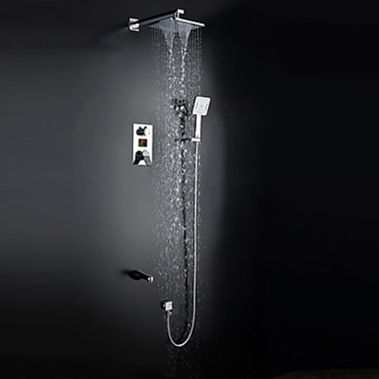 Contemporary Widespread Handshower Included Ceramic Valve Two Handles Chrome Shower System Waterfall Rain Shower Shower Faucet-- Faucetsmall.com | Shower Faucets & Bathtub Faucets | Scoop.it