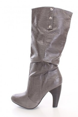 Grey Cuffed Heel Boots Faux Leather   The Season's Hottest Styles from Pink Basis   Scoop.it
