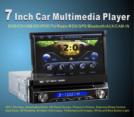 1 DIN Lecteur DVD de voiture - 7 pouces flip out écran, panneau avant amovible, GPS - 7mall.fr | 7mall | Scoop.it