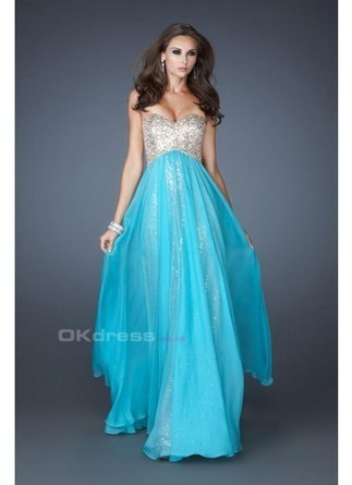 Sweetheart Neckline Flowing Chiffon Sequin Prom Dresses - by OKDress UK | Fashion & Beautiful Dresses | Scoop.it