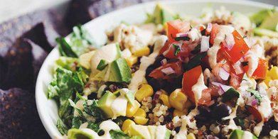 Rainbow Quinoa Taco Salad with Vegan Dressing Recipes | Food Network Canada | My Vegan recipes | Scoop.it