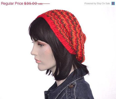 CIJ Sale Silk Slouchy Beanie Hat Womens Hat Striped Orange Brown Red Hat Silk Flax Natural Fiber | Etsy | Scoop.it