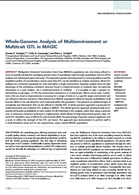 Whole-Genome Analysis of Multienvironment or Multitrait QTL in MAGIC | Plant multi-parent advanced generation intercross (MAGIC) populations | Scoop.it