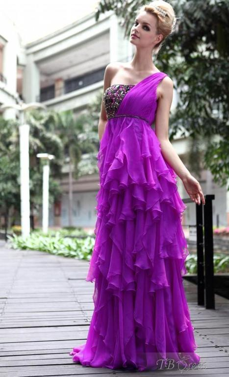 $ 231.19 Sexy A-Line Floor-Length One-Shoulder Tiered Prom/Evening Dresses | fashion pants | Scoop.it