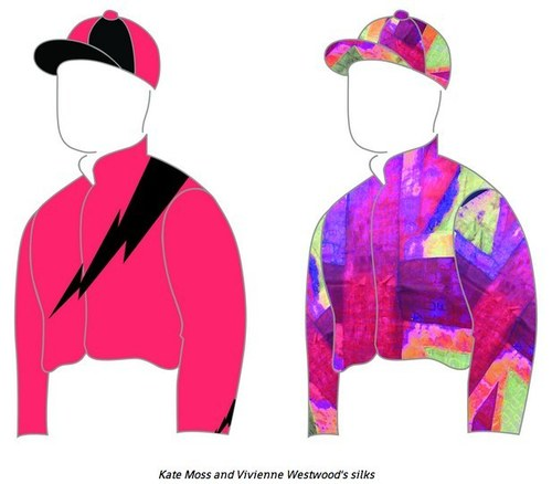 Kate Moss's jockey silks for Goodwood, left, and Vivienne Westwood's, rightKate Moss's jockey silks, left, and Vivienne Westwood's, right
