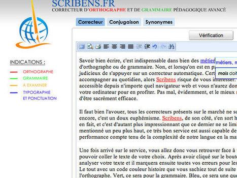 Scribens, un correcteur d'orthographe et de grammaire accessible directement en ligne | Mes ressources personnelles | Scoop.it