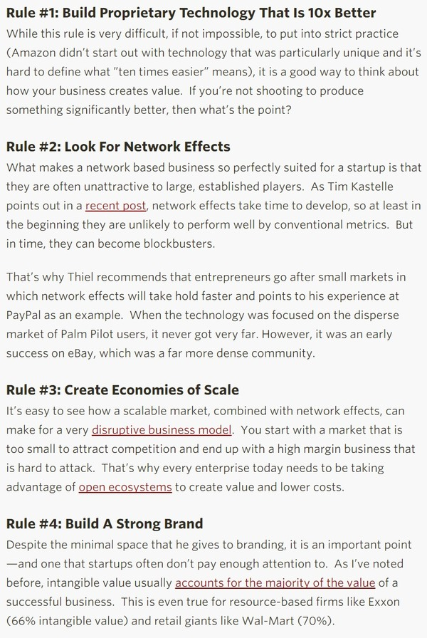 Innovation Excellence | Peter Thiel's 4 Rules For Creating A Great Business | The Marketing Technology Alert | Scoop.it