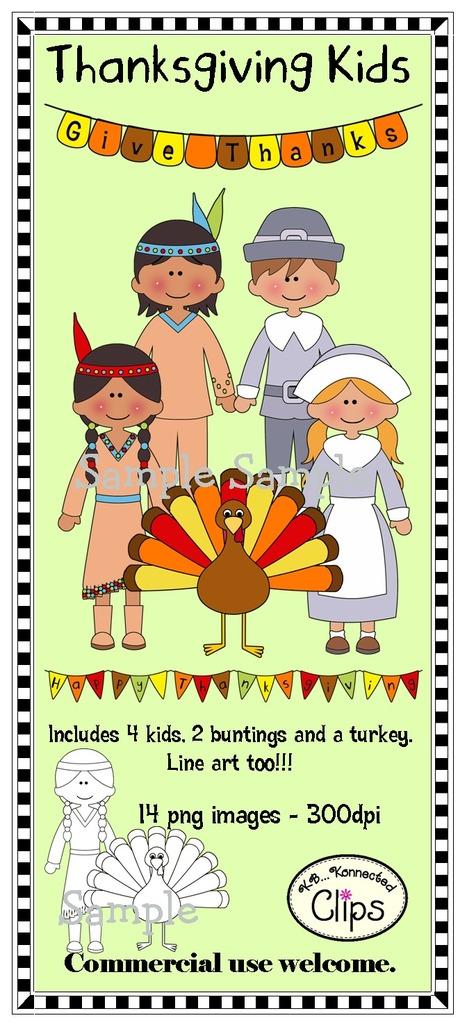 Thanksgiving Kids (includes line art) | KB...Konnected's  Kaleidoscope of  Wonderful Websites! | Scoop.it