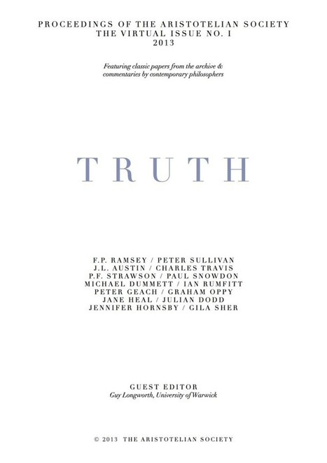 Online Conference – Truth | The Aristotelian Society | Digital Philosophy | Scoop.it