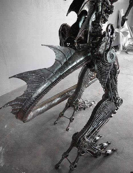 Giant steampunk dragon made from recycled auto parts | Recyclart | Top CAD Experts updates | Scoop.it