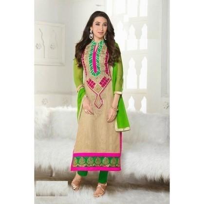 Karishma Kapoor Cream Georgette Anarkali Suits - TheEthnicWear | Designer Salwar Kameez | Party Wear Salwar Kameez | Bollywood Churidar Salwar Kameez | Scoop.it