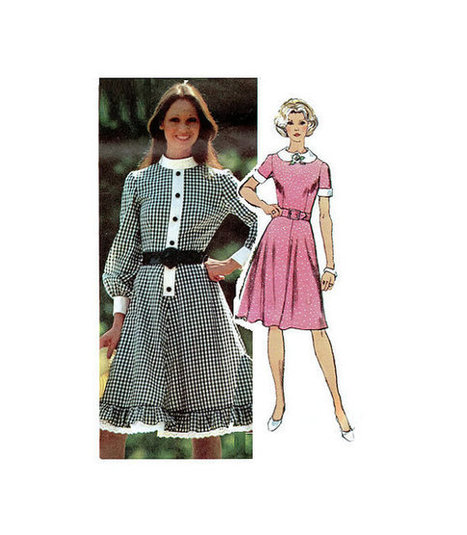 Simplicity Sewing Pattern Retro Mini Baby Doll Dress Plus Size Full Figure Bust 38 Peter Pan Collar Full Skirt High Neck | Vintage Sewing Patterns | Scoop.it