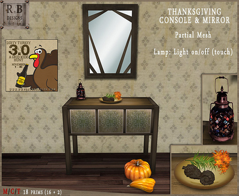 RnB Thanksgiving Console & Mirror - TDTH Gift | Wandering Second Life | Scoop.it