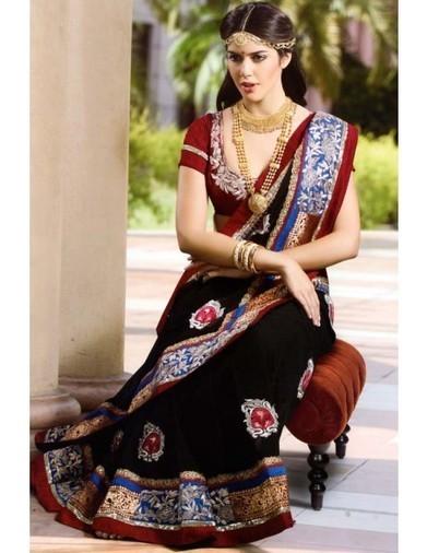 Rocking Black Saree, Black, Georgette | Deals, Offers & Updates | Scoop.it