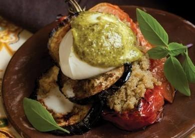 Amaranth, Roasted Tomato, and Eggplant Stacks with Pesto | Recipes | Scoop.it